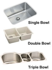 Single, Double and Triple Bowl Sinks